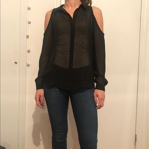 Forever 21 Cold Shoulder Sheer Black Top